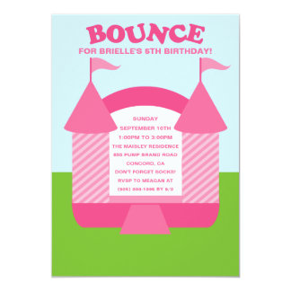 Pink Birthday Bounce Bouncy House Birthday Party Card