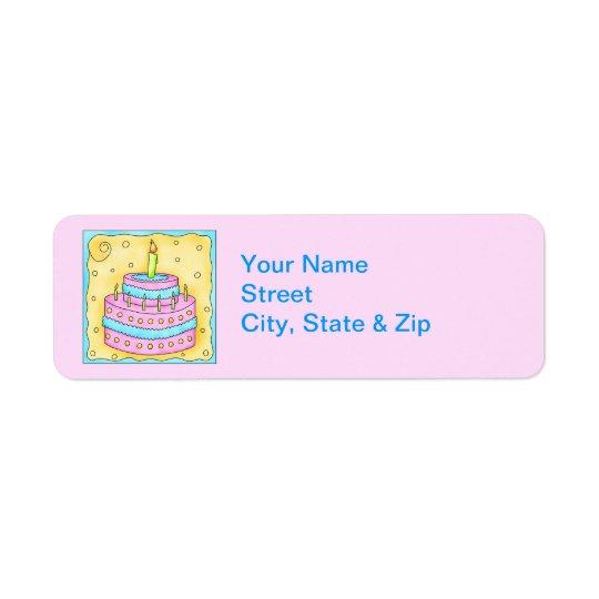 Pink Birthday Cake Return Address Label