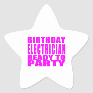 Pink Birthday Electrician Ready 2 Party Star Sticker