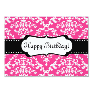 Pink Birthday Invitation Cute Damask Sweet 16