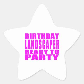 Pink Birthday Landscaper Ready 2 Party Star Sticker