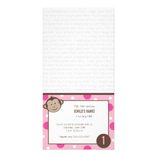 Pink Birthday Monkey Photo Card Invitation