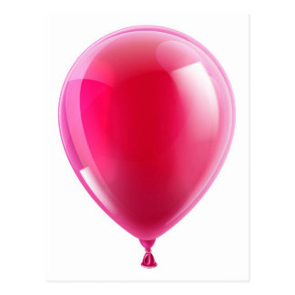 Pink birthday or party balloon postcard