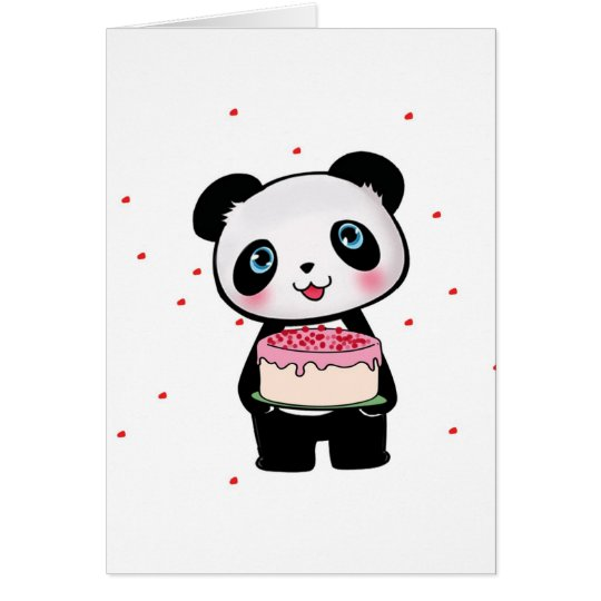Pink Birthday Panda Bear with Cake Fan Enthusiast