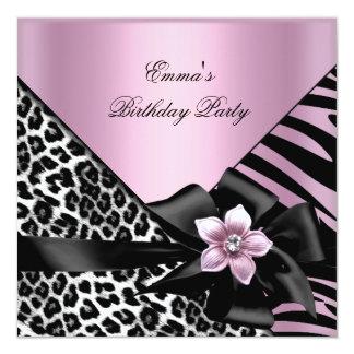 Pink Birthday Party Zebra Leopard Elegant 13 Cm X 13 Cm Square Invitation Card