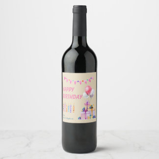 Pink Birthday Watercolor Wine Labels