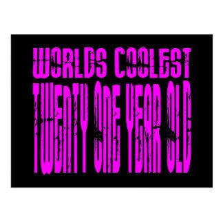 Pink Birthday Worlds Coolest Twenty One Year Old Postcard