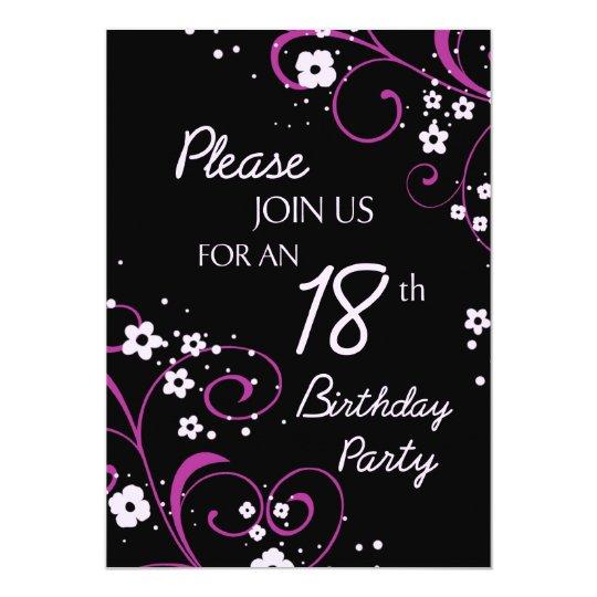 pink black 18th birthday party invitation card  zazzlecouk