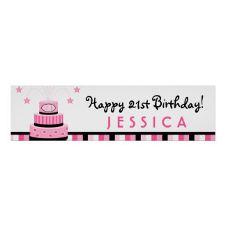 Pink Black 21st Birthday Cake Party Banner Poster