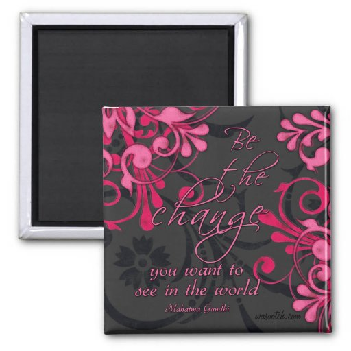 Pink Black Abstract Floral Inspirational Magnet Magnet