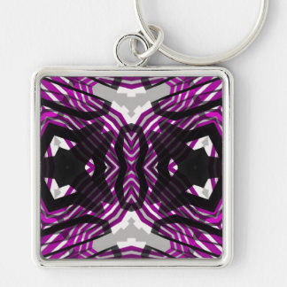 Pink Black Abstract Silver-Colored Square Key Ring