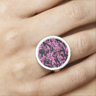 Pink Black Abstract Pattern, Round Silver Ring. Ring