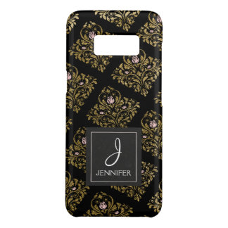 Pink, Black and Gold Foil Floral Monogram Case-Mate Samsung Galaxy S8 Case
