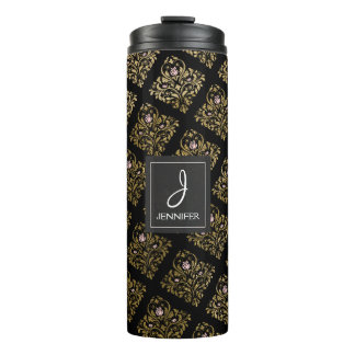 Pink, Black and Gold Foil Floral Monogram Thermal Tumbler