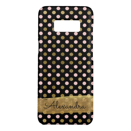 Pink, Black and Gold Foil Polka Dot Monogram Case-Mate Samsung Galaxy S8 Case
