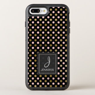 Pink, Black and Gold Foil Polka Dot Monogram OtterBox Symmetry iPhone 8 Plus/7 Plus Case