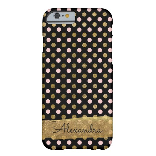 Pink, Black and Gold Foil Polka Dot Name Barely There iPhone 6 Case