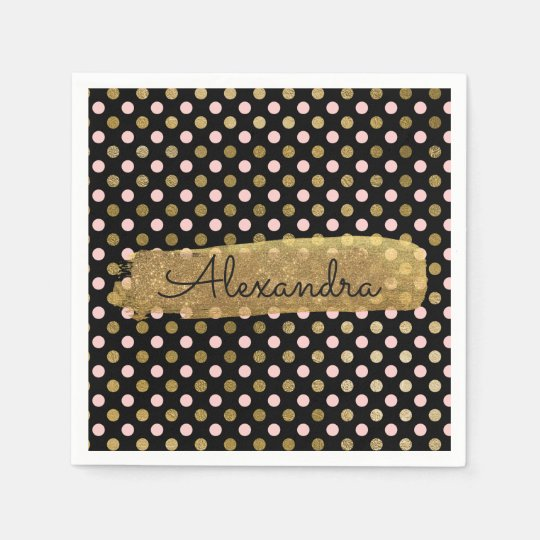 Pink, Black and Gold Foil Polka Dot Name Disposable Napkin