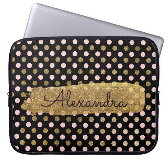 Pink, Black and Gold Foil Polka Dot Name Laptop Sleeve