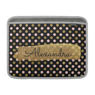 Pink, Black and Gold Foil Polka Dot Name Sleeve For MacBook Air