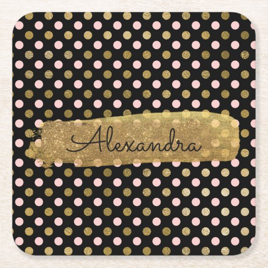 Pink, Black and Gold Foil Polka Dot Name Square Paper Coaster