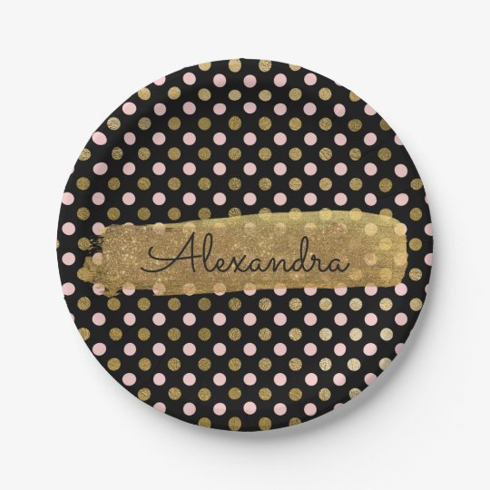 Pink, Black and Gold Foil Polka Dot & Stripe Paper Plate