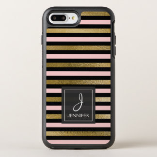 Pink, Black and Gold Foil Striped Monogram OtterBox Symmetry iPhone 8 Plus/7 Plus Case