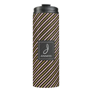 Pink, Black and Gold Foil Striped Pattern Monogram Thermal Tumbler