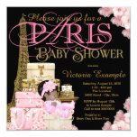 Pink Black and Gold Paris Ethnic Girl Baby Shower 13 Cm X 13 Cm Square Invitation Card