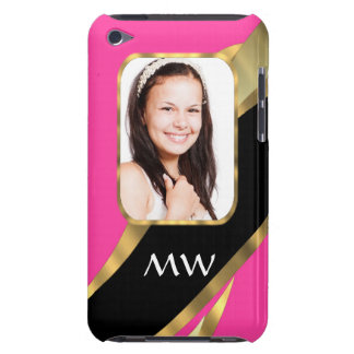 Pink black and gold photo template iPod Case-Mate cases