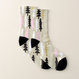 Pink Black and Gold Trees Pattern Socks 1