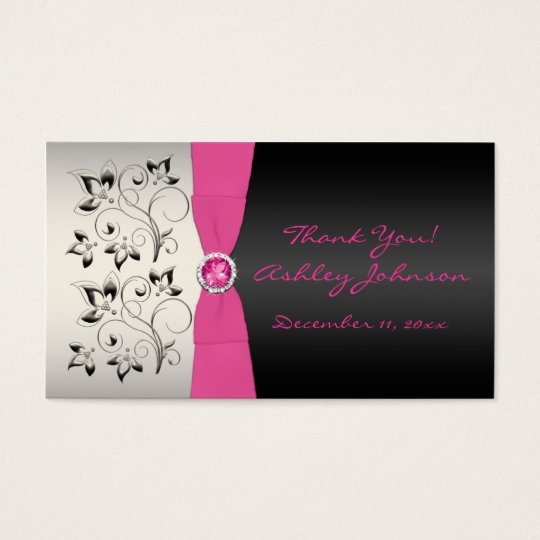 Pink, Black, and Silver Favour Tag