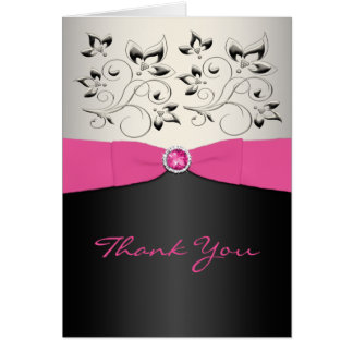 Pink Black and Silver Thank You Card Cards