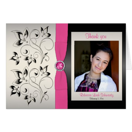 Pink, Black and Silver Thank You Card with Photo