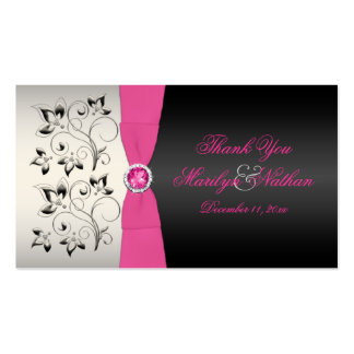 Pink Black and Silver Wedding Favor Tag Business Card Templates