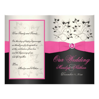 Pink Black and Silver Wedding Program Flyer Design