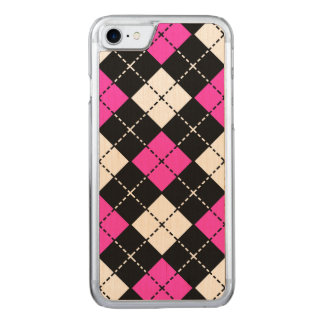 Pink Black and White Argyle Pattern Carved iPhone 8/7 Case