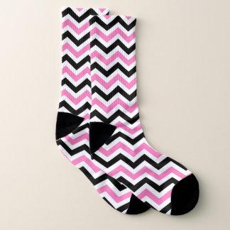 Pink, black and white chevron socks
