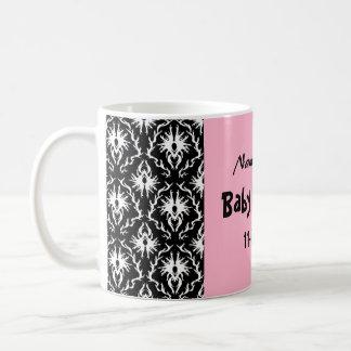 Pink Black and White Damask Baby Shower Basic White Mug