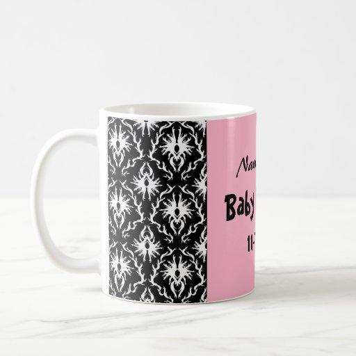 Pink Black and White Damask Baby Shower Mug