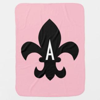 Pink Black and White Fleur de Lis Monogram Baby Blanket