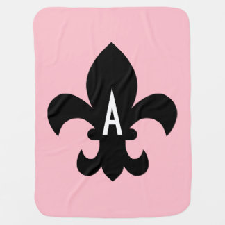 Pink Black and White Fleur de Lis Monogram Receiving Blanket