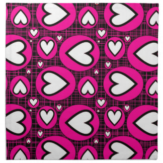 Pink, Black and White Hearts Cloth Napkins