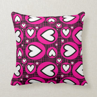 Pink, Black and White Hearts Cushion