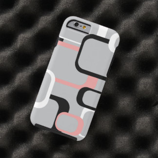 Pink Black and White Retro Squares Tough iPhone 6 Case