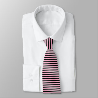 Pink, Black and White Stripes Tie