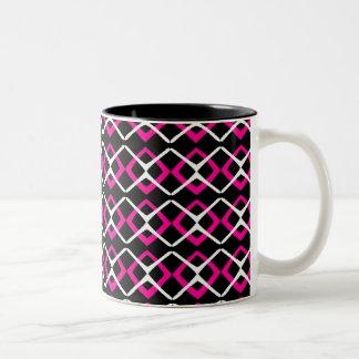 Pink, Black and White X Two-Tone Coffee Mug