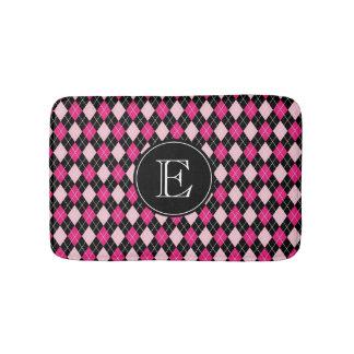 Pink Black Argyle Pattern with Custom Monogram Bath Mat