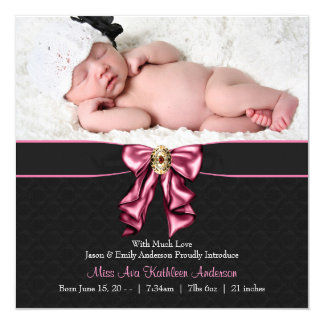 Pink Black Baby Girl Photo Birth Announcement