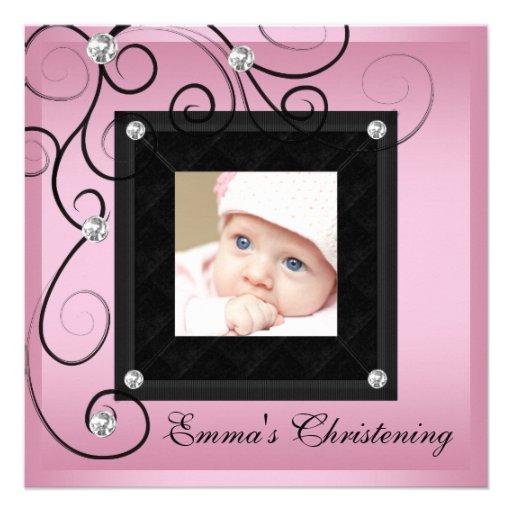 Pink Black Baby Girl Photo Christening Invitations